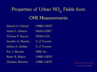 Properties of Urban NO 2  Fields from OMI Measurements