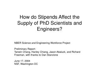 How do Stipends Affect the Supply of PhD Scientists and Engineers?