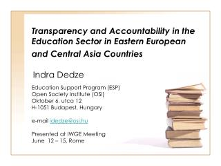 Transparency and Accountability in the Education Sector in Eastern European and Central Asia Countries