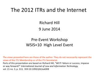 The 2012 ITRs and the Internet