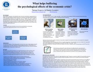 What helps buffering  the psychological effects of the economic crisis?