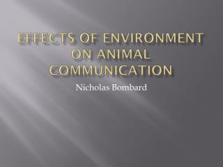 Effects of Environment on Animal Communication