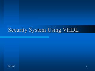 Security System Using VHDL