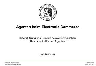 Agenten beim Electronic Commerce