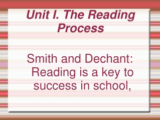The Reading Process   from understanding to teaching