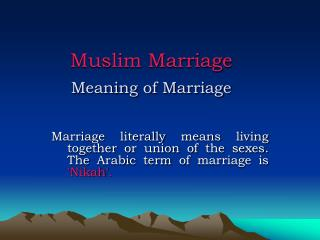 Muslim Marriage Meaning of Marriage
