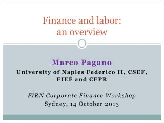Finance and labor: an overview