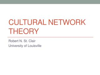 Cultural Network Theory