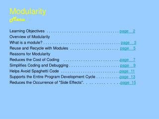 Modularity	 Menu