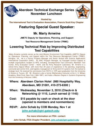 Aberdeen Technical Exchange Series November Luncheon Hosted by:
