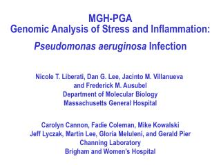 MGH-PGA Genomic Analysis of Stress and Inflammation: Pseudomonas aeruginosa  Infection