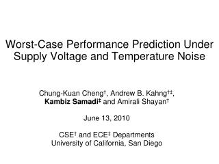 Worst-Case Performance Prediction Under Supply Voltage and Temperature Noise