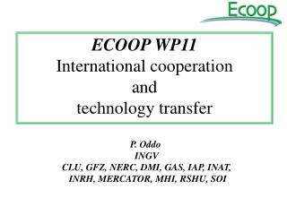 ECOOP WP11 International cooperation  and  technology transfer