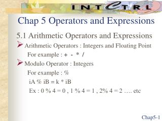 Chap 5 Operators and Expressions