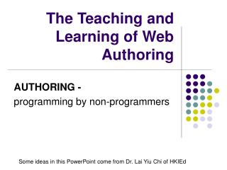 The Teaching and Learning of Web Authoring