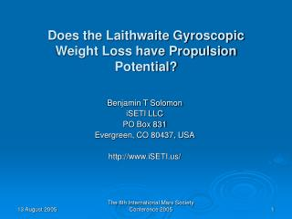 Does the Laithwaite Gyroscopic Weight Loss have Propulsion Potential?