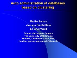 Auto administration of databases based on clustering