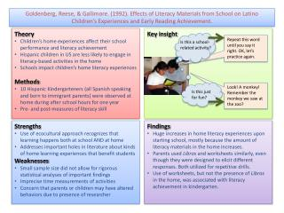 Goldenberg, Reese, & Gallimore. (1992). Effects of Literacy Materials from School on Latino Children's Experiences a