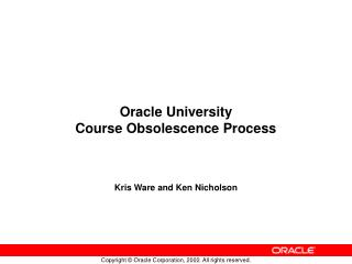 Oracle University  Course Obsolescence Process