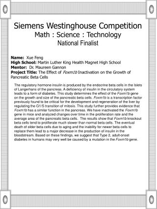 Name:   Xue Feng High School:  Martin Luther King Health Magnet High School
