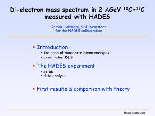 Di-electron mass spectrum in 2 AGeV  12 C+ 12 C measured with HADES
