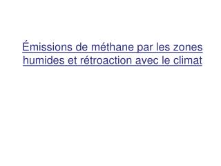 Émissions de méthane par les zones humides et rétroaction avec le climat
