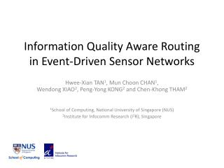 Information Quality Aware Routing in Event-Driven Sensor Networks