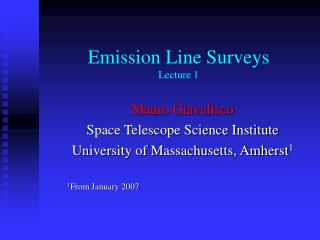Emission Line Surveys Lecture 1