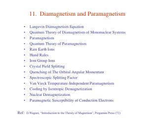 11.  Diamagnetism and Paramagnetism