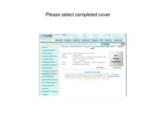 Please select completed cover
