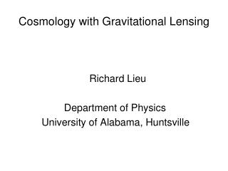 Cosmology with Gravitational Lensing