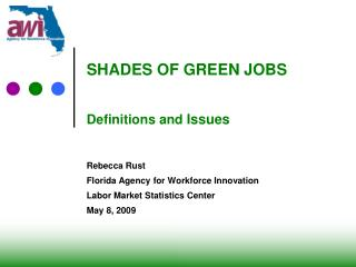 SHADES OF GREEN JOBS Definitions and  Issues