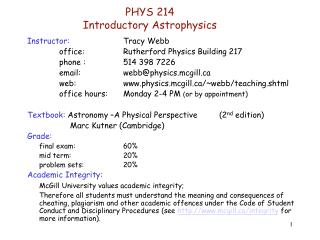 PHYS 214 Introductory Astrophysics