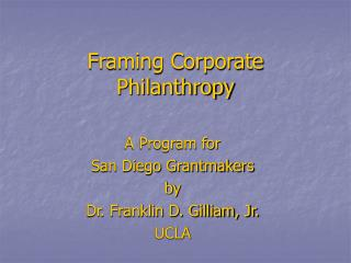 Framing Corporate Philanthropy