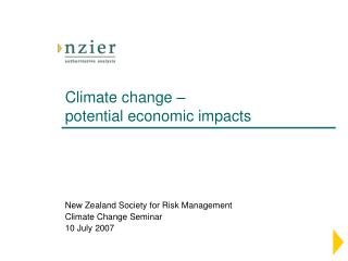 Climate change –  potential economic impacts