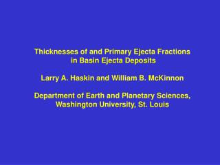 Thicknesses of and Primary Ejecta Fractions  in Basin Ejecta Deposits