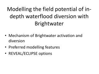 Modelling the field potential of in-depth waterflood diversion with Brightwater