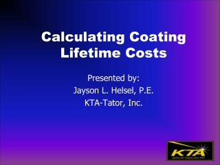 Calculating Coating  Lifetime Costs