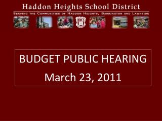 BUDGET PUBLIC HEARING March 23, 2011