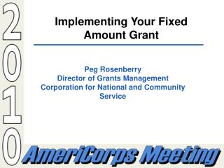 Implementing Your Fixed Amount Grant