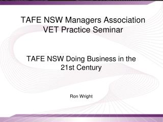 TAFE NSW Managers Association VET Practice Seminar