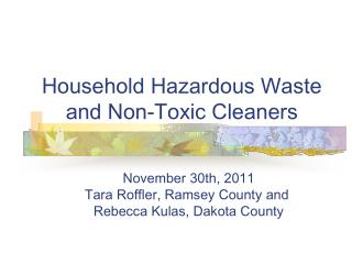 Household Hazardous Waste and Non-Toxic Cleaners