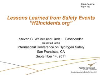 "Lessons Learned from Safety Events ""H2Incidents"""