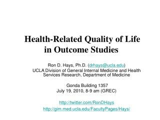 Health-Related Quality of Life  in Outcome Studies