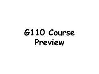 G110 Course Preview