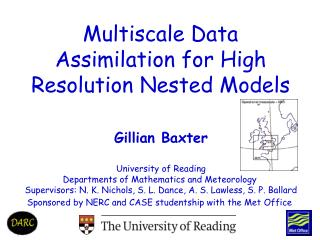 Gillian Baxter University of Reading Departments of Mathematics and Meteorology