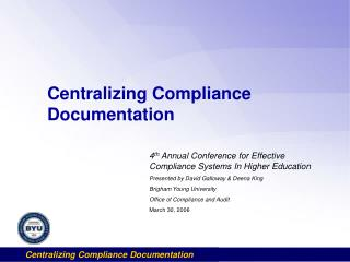 Centralizing Compliance Documentation