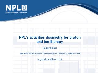NPL's activities dosimetry for proton and ion therapy