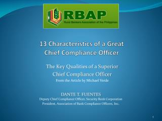 13 Characteristics of a Great Chief  Compliance Officer