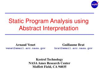 Static Program Analysis using Abstract Interpretation
